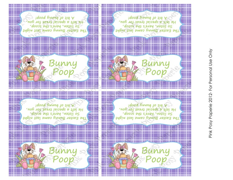 Printable Easter Bunny Poop Bag Toppers By Pinkposypaperie