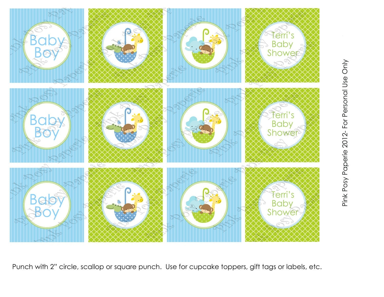 printable noahs ark boy baby shower cupcake toppers