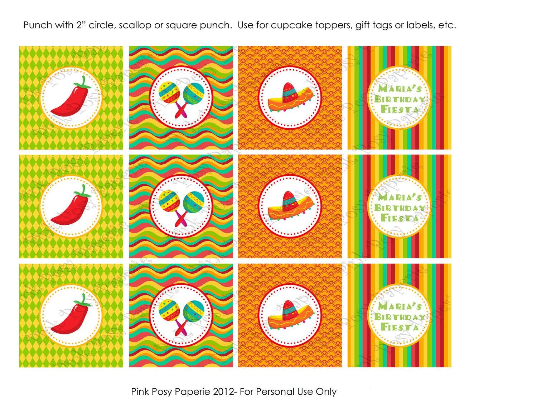 Printable Fiesta Birthday Cupcake Toppers