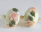 Satin Peach Roses on Dark Ivory, pair of floral rounds, gmd lampwork beads, FREE SHIPPING on this item