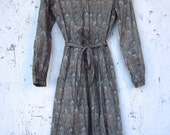 Soft Cotton Liberty of London Hera Peacock Feathers Shirt Dress 80's