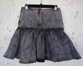 Vintage 80's Black Acid Wash Denim Ruffled Mini w/ Zippers
