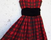 Vintage Red Plaid Party Dress // Black Velvet Cumberbun // XXS // Holiday Frock // Sale