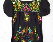 Vintage Black Mexican Floral Embroidered Dress // Tunic