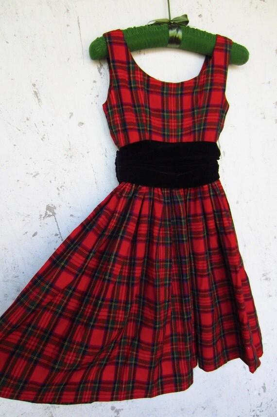 Vintage Red Plaid Party Dress // Black Velvet Cumberbun // XXS // Holiday Frock // Sale
