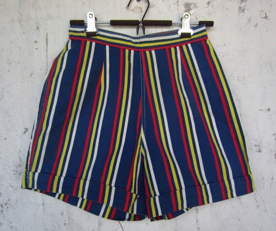 50s Vintage Sally Draper Summer Striped Shorts // Sm // XS