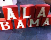 YOUR STATE  sign letters wood blocks shelf sitters hand painted