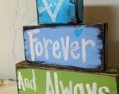 Forever and Always sign chunky wooden blocks Personalized Valentine gift initials in heart