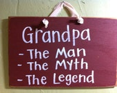 Grandpa the man myth legend sign Father gift wood quote