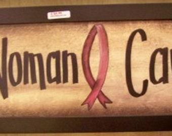 Woman Cave sign framed 11 x 27 pink breast cancer ribbon design Trimble Crafts handmade