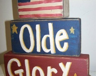 Old Glory sign stacking wooden blocks Americana 4th of July decor