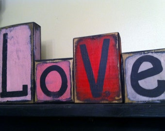 Love sign wood block letters primitive Valentine wedding home decor L-O-V-E