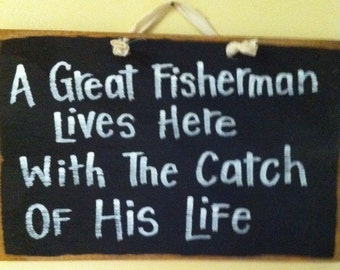 great FISHERMAN lives here with catch of life sign unique man gift wood funny Fathers Day birthday