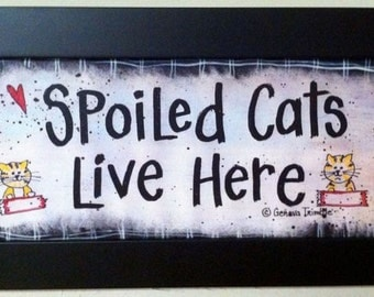 Spoiled cats live here sign personalized cat lover gift framed print names