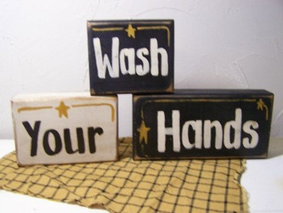 Wash your hands sign chunky wood BLOCKS stack of 3 bathroom decor