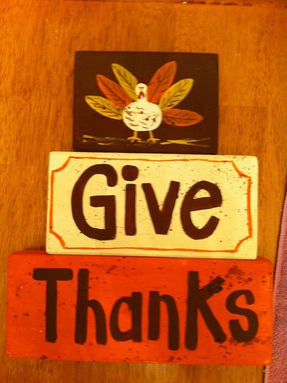 Items Similar To Give Thanks Wood Blocks Sign Thanksgiving