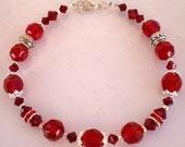 Ruby & Siam Swarovski Crystal Bracelet Sterling Bali Beads