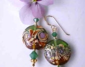 Murano Glass Earrings Floral w Swarovski Crystal Emerald Opals