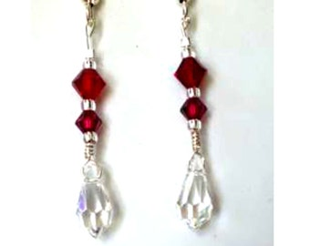 Ruby Swarovski Crystal Earrings Clear Briolette Crystals Victorian
