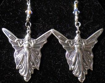 Fairy Pendant Earrings Art Deco w Clear Swarov Crystals