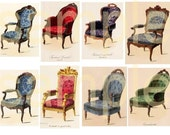Exquisite Antique French Chairs from Vintage Prints Digital Collage Sheet