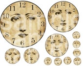 Vintage Angelic Altered Clock Faces ...NO Hands...from 1 inch to 6 inches... Digital Collage Sheet