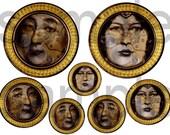 Vintage Altered Original STEAMPUNK Goddess Medallions... Digital Collage Sheet