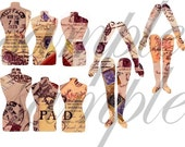Vintage ALTeRed ART DOLL Body Parts  2 Digital Collage Sheets