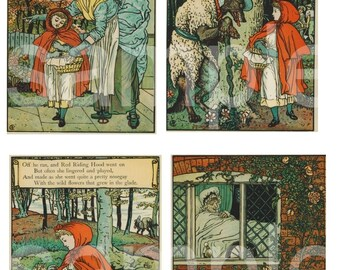 19th Century Storybook Pages...Red Riding Hood...Fantasic Walter Crane Illustrations...on 2 Digital Collage Sheets