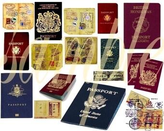 Vintage Passport Images Digital Collage Sheet