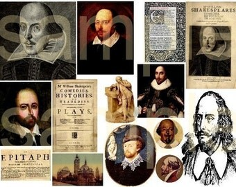 Vintage SHAKESPEARE Historical Digital Collage Sheet