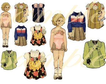 Vintage Shirley Temple Paper Dolls ...Precious....  Digital Collage sheet