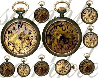 Altered Antique Pocket Watches...SteamPunk Necessity... It's About TIME...Digital Collage Sheet