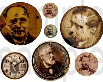 Vintage HG Wells...Jules Verne...SteamPunk... Altered Clock Watchworks Faces... Digital Collage Sheet