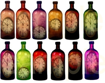Time in a Bottle....Antique Bottles with Clocks Inside....Unique OOAK  Digital Collage Sheet