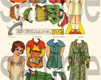 Vintage French Paper Dolls...Precious....  Digital Collage sheet