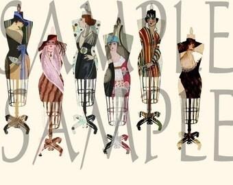 Vintage Altered Dress Forms Dressmakers Mannequin  ART DECO Fashion Digital Collage Sheet