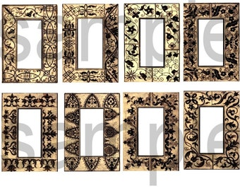 Antique Lace Book Pages... ATC  ACEO sized... Border Graphics...Digital Collage Sheet
