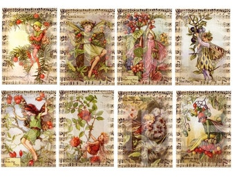 Vintage Flower Fairies of the Autumn..Altered on Old Music.Flower Fairy..ATC and ACEO Size...Digital Collage Sheet