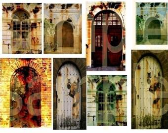 Vintage Rusted Arch Doorways Doors  Digital Collage Sheet