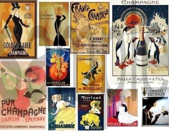Vintage Champagne Advertisement Poster Images Digital Collage Sheet