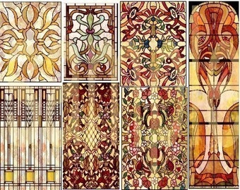 Vintage Stained Glass  Digital Delivery 2 Collage Sheets Bundle