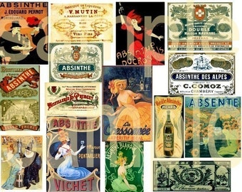 Vintage ABSINTHE Poster and Label Images Digital Collage Sheet