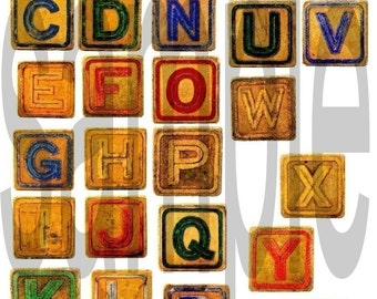 ABC Alphabet Vintage Childrens Toy Letter Blocks Digital Collage Sheet