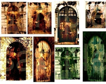 Witch in the Doorway...Spooky Vision....Altered Digital Collage Sheet