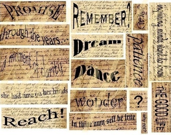 Altered ESSENTIAL WORDS and Phrases you  NEED No.1 Digital Collage Sheet