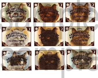 Ouija Boards Vintage CATS Altered . Digital Collage Sheet