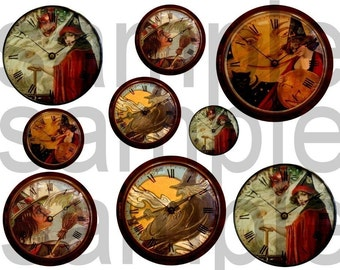 Vintage Altered Halloween Witch CLOCKS and Pocket Watches..OOAK....2 DIgital Collage sheets BUNDLE