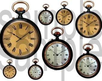 Vintage Clock Faces and Pocket Watches...Just what you NEED...2 Digital Collage Sheets Bundle