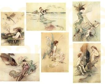 Vintage Water Babies...Gorgeous Fantasy Goble Illustrations....2 Digital Collage sheets BUNDLE